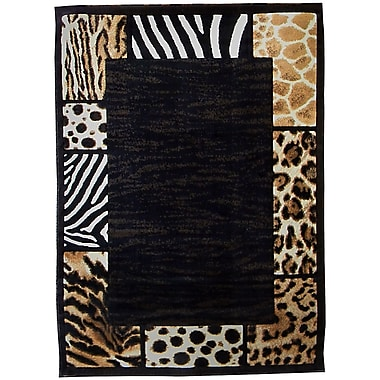 DonnieAnn Company Skinz 73 Mixed Brown/Black Animal Skin Prints Patchwork Border Area Rug; 7' x 5'