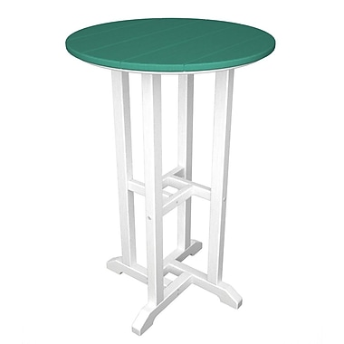 POLYWOOD Contempo Bar Table; White & Aruba