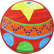 Fun Rugs Fun Shape High Pile Circus Ball Red Area Rug; Round 3'3''