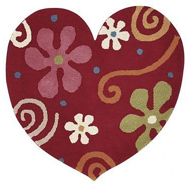 Dynamic Rugs Fantasia Heart Hand-Tufted Wool Red Area Rug; Novelty 3' x 3'