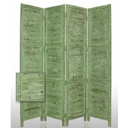 Screen Gems 84'' x 76'' Nantucket Painted 4 Panel Room Divider; Green