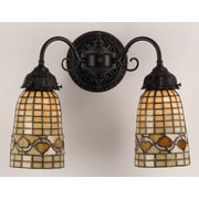 Meyda Tiffany Victorian Lodge Tiffany Acorn 2 Light Wall Sconce