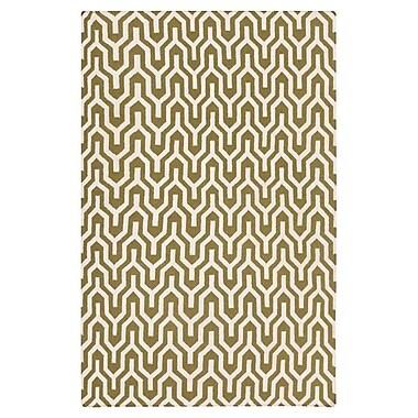 Jill Rosenwald Rugs Fallon Hand-Woven Dark Green/White Area Rug; Rectangle 8' x 11'