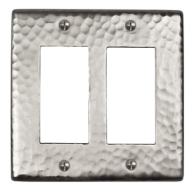 The Copper Factory Hammered Copper Double GFCI Plate; Satin Nickel