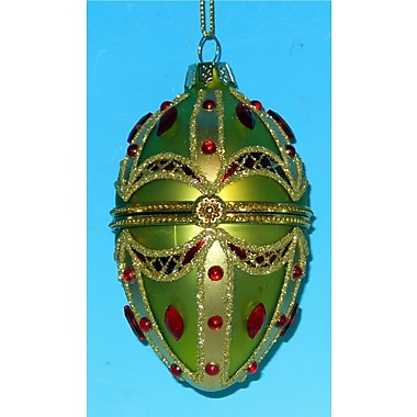 Horizons East Style Opening Egg Ornament; Lime Green/Red