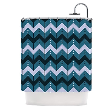 KESS InHouse Chevron Dance Shower Curtain; Blue