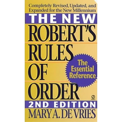 The New Robert's Rules Of Order Mary A. De Vries Paperback