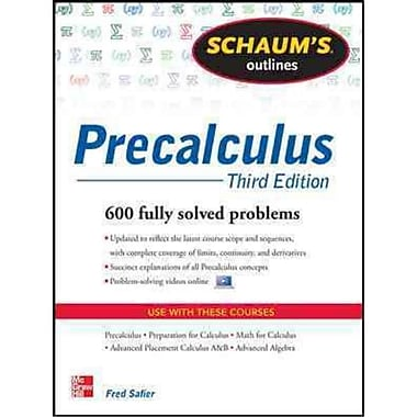 Schaum's Outline of Precalculus Fred Safier Paperback, Used Book, (0071795593)