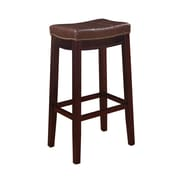 Linon Claridge Patches Vinyl Bar Stool, Brown