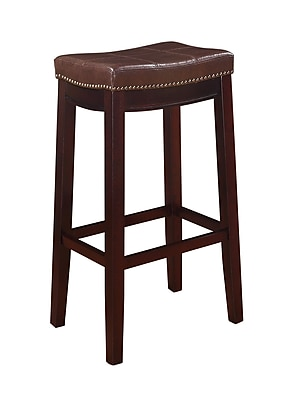 Linon Claridge Patches Vinyl Bar Stool; Brown