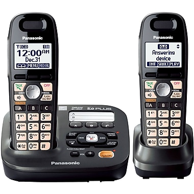 Panasonic KX-TG6592T Single Line Expandable Digital Cordless Answering System with 2 Handsets, Black