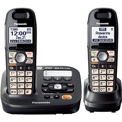 Panasonic® KX-TG6592T Expandable Digital Cordless Answering System W/2 Handset, 50 Name/Number