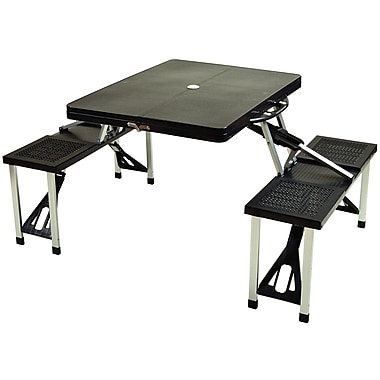 Picnic At Ascot Foldable Picnic Table; Black