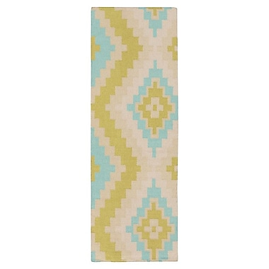 Beth Lacefield Alameda Antique White/Lime Area Rug; Runner 2'6'' x 8'