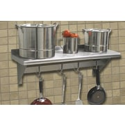 A-Line by Advance Tabco Stainless Steel Wall Mounted Shelf w/ Pot Rack Bar; 10'' H x 36'' W x 12'' D