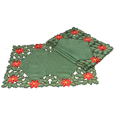 Xia Home Fashions Holly Leaf Poinsettia Embroidered Cutwork Holiday Placemat (Set of 4)