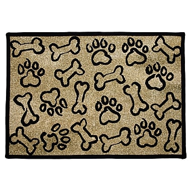 Park B Smith Ltd PB Paws & Co. Gold Puppy Paws Tapestry Area Rug; Rectangle 1'1'' x 1'7''