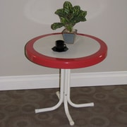 4D Concepts Metal Retro Round Side Table; Red Coral and White