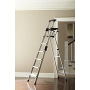 Cosco Home and Office Signature 7.66 ft Aluminum Step Ladder w/ 300 lb. Load Capacity