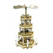 Richard Glaesser 4 Tier Natural Wood Nativity Scene and Angels Pyramid