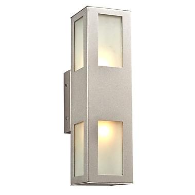 PLC Lighting Tessa 2-Light Outdoor Sconce; Silver