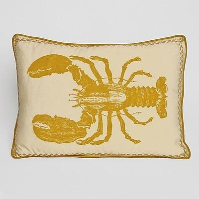 Kevin O'Brien Studio Nauticals Lobster Lumbar Pillow; Yellow Submarine