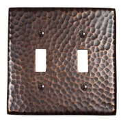 The Copper Factory Hammered Copper Double Switch Plate; Antique Copper