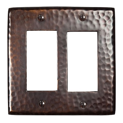 The Copper Factory Hammered Copper Double GFCI Plate; Antique Copper