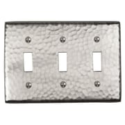 The Copper Factory Hammered Copper Triple Switch Plate; Satin Nickel