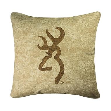 Browning Buckmark Logo Throw Pillow; Tan