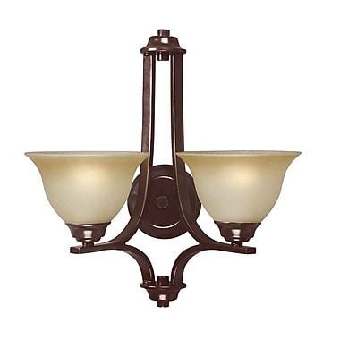 Woodbridge Marissa 2-Light Wall Sconce; Mahogany Bronze with Burnt Etched Glass