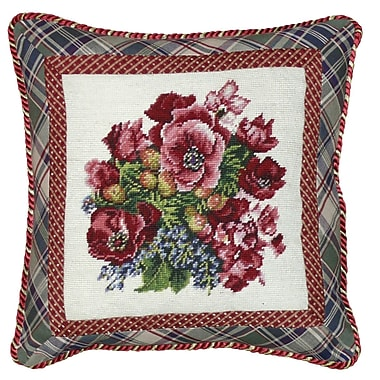 123 Creations Floral Pansy Needlepoint Wool Throw Pillow