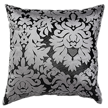 Cortesi Home Dama Damask Accent Throw Pillow; Silver