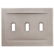 RQ Home Triple Toggle Magnetic Wall Plate; Brushed Nickel