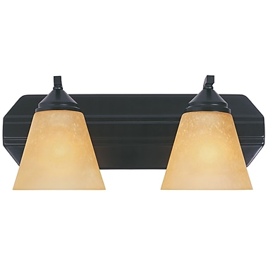 Designers Fountain Piazza 2-Light Vanity Light; Oil Rubbed Bronze with Golden Shade
