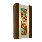 A19 ReFusion Abstract 1-Light Wall Sconce; Butternut and Multi Turquoise