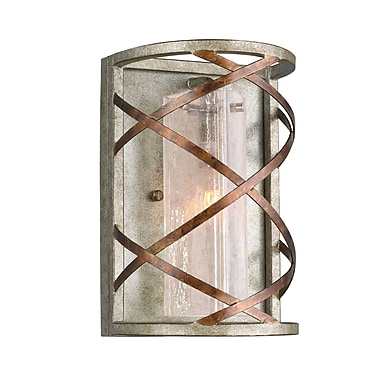 Woodbridge Braid 1-Light Wall Sconce; Seedy Plated Amber Triangle