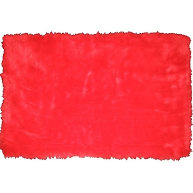 LA Rugs Flokati Red Area Rug; 3'3'' x 4'10''