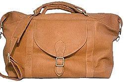 David King 25'' Leather Top Zip Travel Duffel; Tan