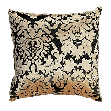 Cortesi Home Dama Damask Accent Throw Pillow; Gold