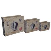 Cheungs 3 Piece Lined Keepsake Book Box w/ Floral Seashell Design Set