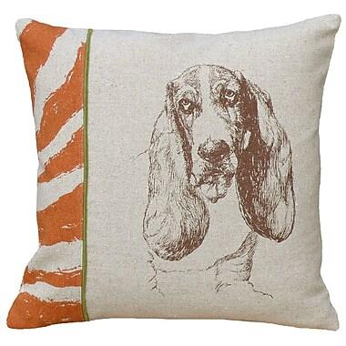 123 Creations Dog Basset Hound Screen Print Linen Throw Pillow