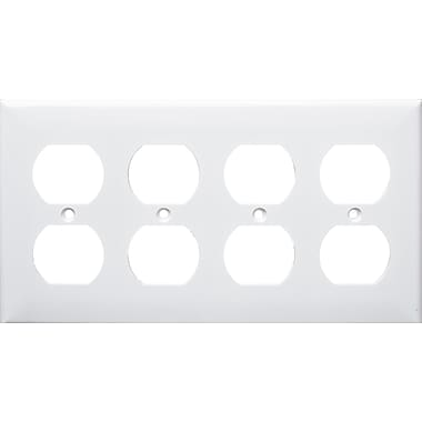 Morris Products 4 Gang Duplex Lexan Receptacle Wall Plates in White
