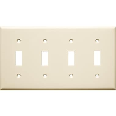 Morris Products 4 Gang Lexan Wall Plates for Toggle Switch in Almond