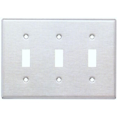 Morris Products Three Gang and Toggle Switch Metal Wall Plates in Stainless