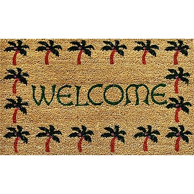 Home & More Palm Tree Border Welcome Doormat