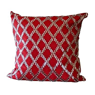 Debage Inc. Bling Crystal Diamond Throw Pillow; Red
