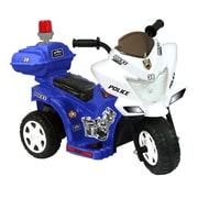 Kidz Motorz Lil Patrol 6V Battery Powered Motorcycle; Blue and White