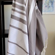 Scents and Feel Striped Fouta Towel; White / Mink