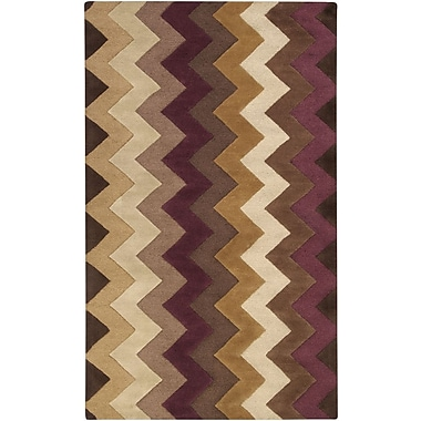 B. Smith Mosaic Chocolate/Plum Rug; 3'3'' x 5'3''